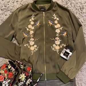 Forever21 Green Embroidered Varsity Jacket